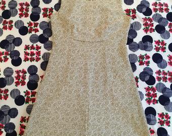Vintage Gold Metallic Floral Brocade Sleeveless Custom Iridescent Rhinestone Collar Maxi Dress 50s 60s