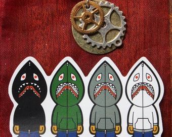 Steampunk Clock Gear necklace Set / Bape Sticker