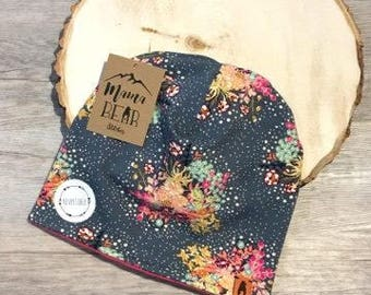Reversible Kids Slouchy Beanie-Grey Pink Floral -Newborn Beanie-Baby Beanie-Kid Beanie-Adult Beanie-Stretchy Hat-Baby Shower Gift