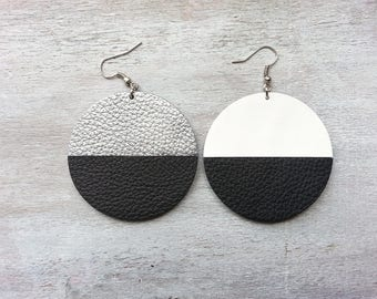 large mismatched earrings Leather statement earrings