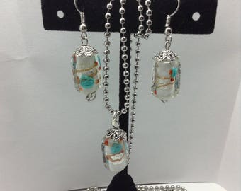 glass bead earring and pendant set