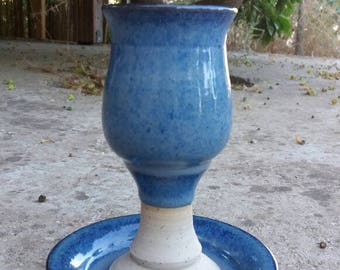 Wine Goblet Ceramics Shabbat Kiddush Cup Jewish Home Judaica Gift Handmade Pottery Israel Artist