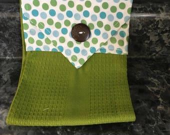 Hanging Towel in Green Polka Dots