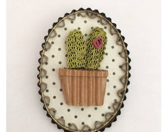 Cactus brooch Locket