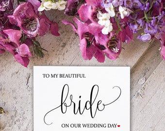 Bride Wedding Card - Wedding Card for Bride - To My Beautiful Wife - Wedding Day Card for Bride - Wedding Day Cards