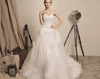Arrival of the Queen - Selena Huan Beaded Lace Sweetheart Ruffled Organza Ball Gown