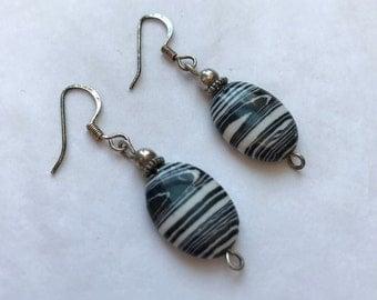 Black And White Stripped Gemstone Jasper Earring