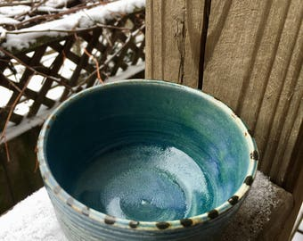 Blue and brown cermic bowl.