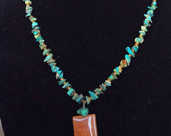 Handmade turquoise beaded necklace Navajo Native American