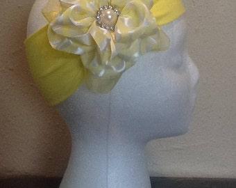 Big yellow hair bow with yellow headband
