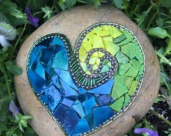 Mosaic Garden Rock Art - Heart