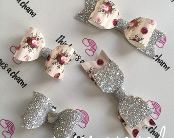 Roses are Red Bow Collection- clips or headbands, newborn, baby girl, toddler girl, big girl