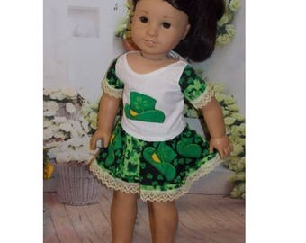 "Luck of the Irish- 18"" Doll Clothes.  Shirt and Skirt (You are purchasing the clothes only, American Girl doll, Jess, is not included)"