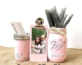 Rustic Mason Jar Desk Set For Women, Office Desk Set For Girls, Shabby Chic