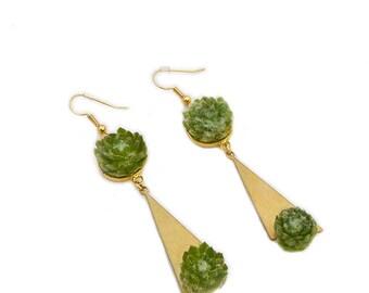 Boucles d'Oreilles Graziella : bijoux végétal, parure de mariage, demoiselle d'honneur, baptême, soirée événementielle, plantes grasses