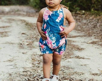 Rose Floral Baby Romper // Girls Romper // Spring Baby Clothes // Birthday Outfit // Toddler Romper // Halter Romper  // Bubble Romper