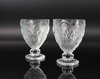 Pasabache Glass Goblets Fruit design set of 2 Made in Turkey vintage