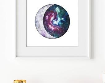 Galaxy Moon Print