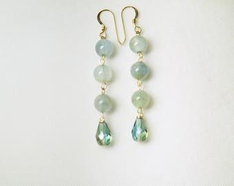 Aquamarine Stone Earrings, Swarovski Elements Earrings, Aquamarine Stone, Gold Earrings, Swarovski Elements Drop, Stone Earrings
