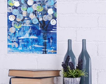 Abstract Tree Acrylic Painting 9x12 Textured BLUE, Silver Foil, White, Green, Black Unique Modern Art Wall Decor
