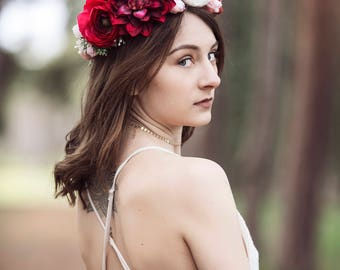 Pink and Ivory Silk Flower Hair Crown, Featuring Pink Dahlia, Fuchsia and Ivory Ranunculus, Pink Roses, Babies Breath and Raspberries