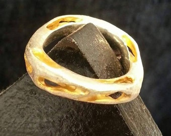 Ring 925 Sterlingsilver, partly gold plated,