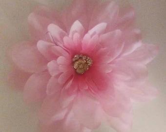 light pink silk flower brooch with sparkly flower center