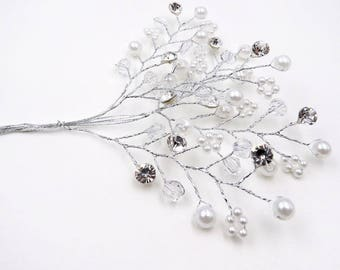 Silver Bead Stems. Bridal. Rhinestone and Pearl. Bouquet Picks. Corsage. Beaded Flowers. Millinery Supplies.