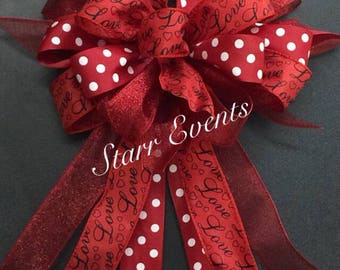 Valentines day decor. Valentines day decorations Valentines day bow wreath bow Red and black bow Bows with polka dots Red Valentines day bow