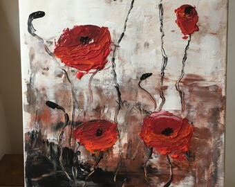 "Acrylic painting ""Red poppy"" original"