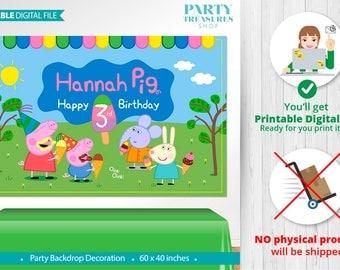 Peppa Pig PRINTABLE Digital Backdrop, Peppa Pig Birthday Backdrop, Party,Peppa Pig Birthday Banner, Peppa Pig Poster,Peppa Pig Ice Cream, vC