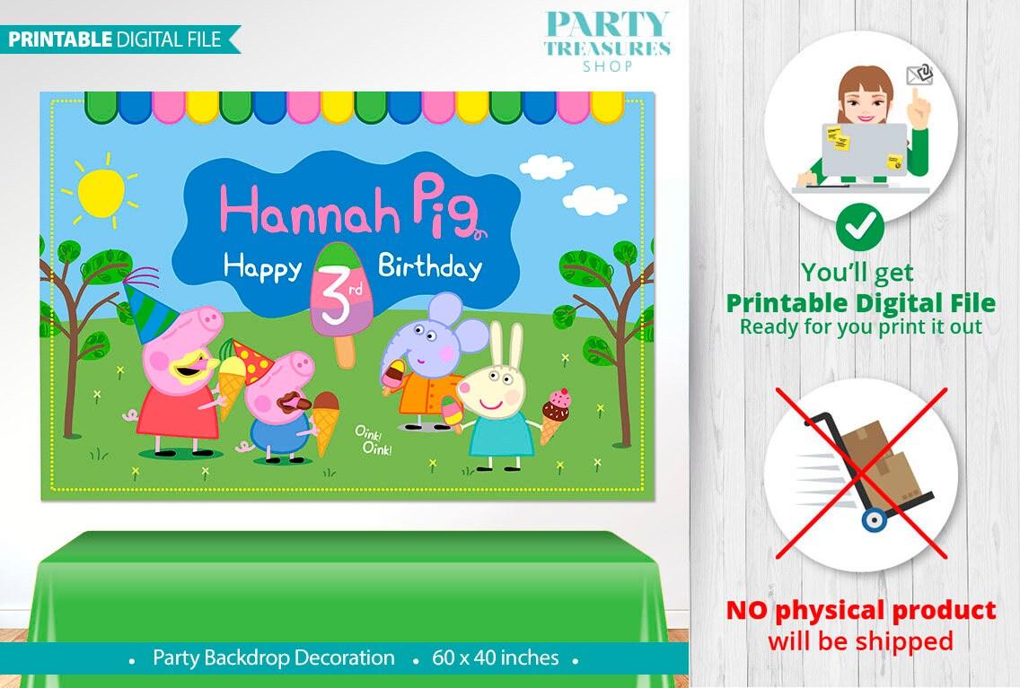 peppa pig printable digital backdrop peppa pig birthday