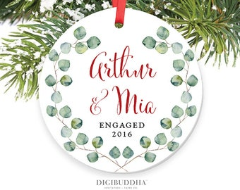 Engagement Ornament Our First Christmas Engaged Ornament Personalized Wedding Ornament Eucalyptus Christmas Ornament 1st Engaged Christmas