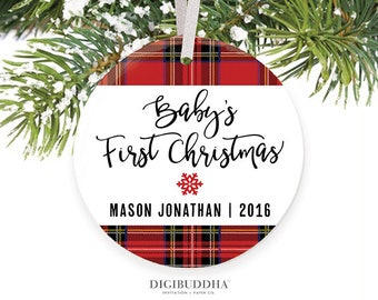 Plaid Baby's First Christmas Ornament Boy Baby Ornament Baby Boy Christmas Ornaments Personalized Tartan Ornament New Baby Ornament Gift