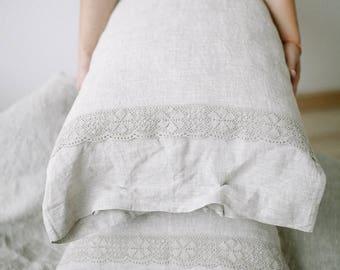 Linen pillow case Lace bedding Housewife pillowcase Linen pillowcase Ruffled pillow Pillowcases Linen shams Rustic bedding Bed linen
