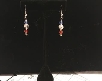 Red, white and blue crystal and silver earring