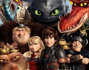 How to train your dragon movie poster A4 size