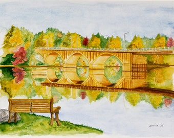 Jill's Mom's Bench – Custom Watercolor Landscape Painting
