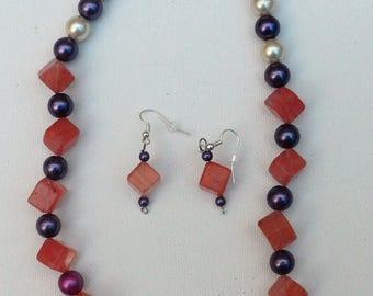 Violet Glass Bead with Cherry Quartz Original Handcrafted Jewelry Set