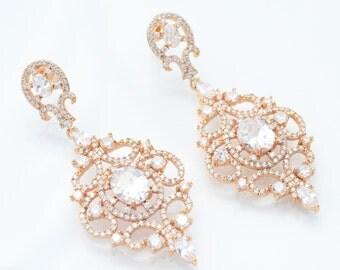 Bridal Earrings Bridal Chandelier Earrings Zirconia Wedding Earrings Crystal Rose Gold Earrings Rose Gold Chandelier Earrings Bridal Jewelry
