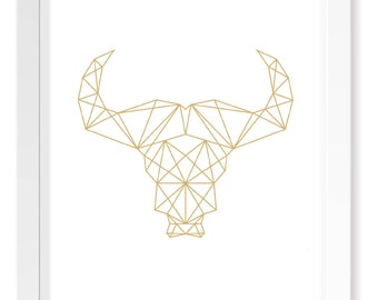 Gold Buffalo Head Geometric Print / Scandinavian Forest Cutout Print / Minimal Nordic Poster Art / Geometric Animal Silhouette