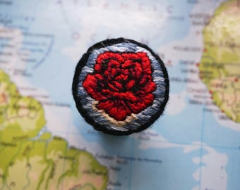 Hand Embroidered 'Salvador Dali - Rose Meditative' Pin