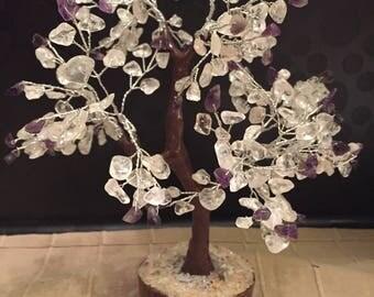 Amethyst & Clear Quartz Gemtree