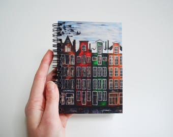 Blank journal  Gift for artist  White pen Travel book Oil print Handmade sketchbook  Writing journal   Notebook black paper Amsterdam art