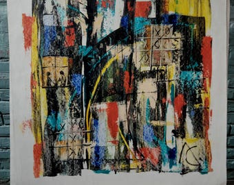 Tic-tac-toe, Tic-tac-toe Abstract, Abstract painting, abstract expressionism, oil painting, large wall art, Oil on paper