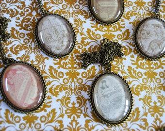 OOAK Antique Vintage * Glass Cabochon Pendant Necklace