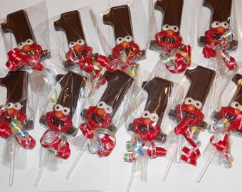 12 Elmo Sesame Street Themed 1st Birthday Party Favor Gourmet Chocolate lollipops