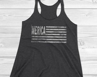 Women's 'Merica Tank Top, American Flag Shirt, USA shirts, Merica Tank Top, Funny American Shirts, Patriotic Shirt, Big Sister Shirt,