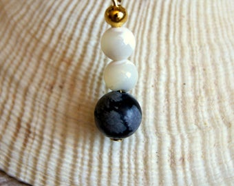 minimalist pendant with natural gemstones beads