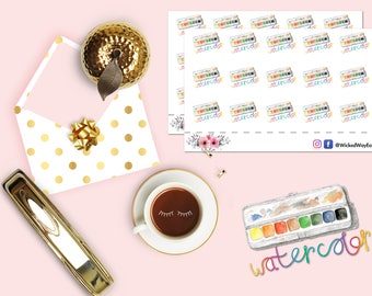 Watercolor Palette Stickers, Rainbow Paint Sticker, Painter's Palette Sticker, Scrapbook Stickers, Planner Accessories - 15 Stickers